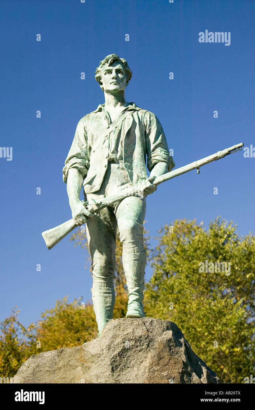 Minuteman soldier from Revolutionary War greets visitors to Historical Lexington Massachusetts New England Stock Photo