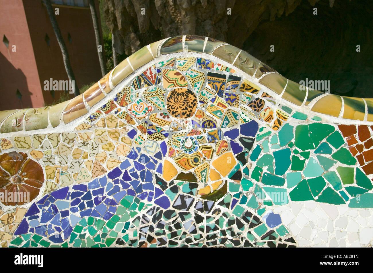 Closeup Of Mosaic Of Colored Ceramic Tile By Antoni Gaudi