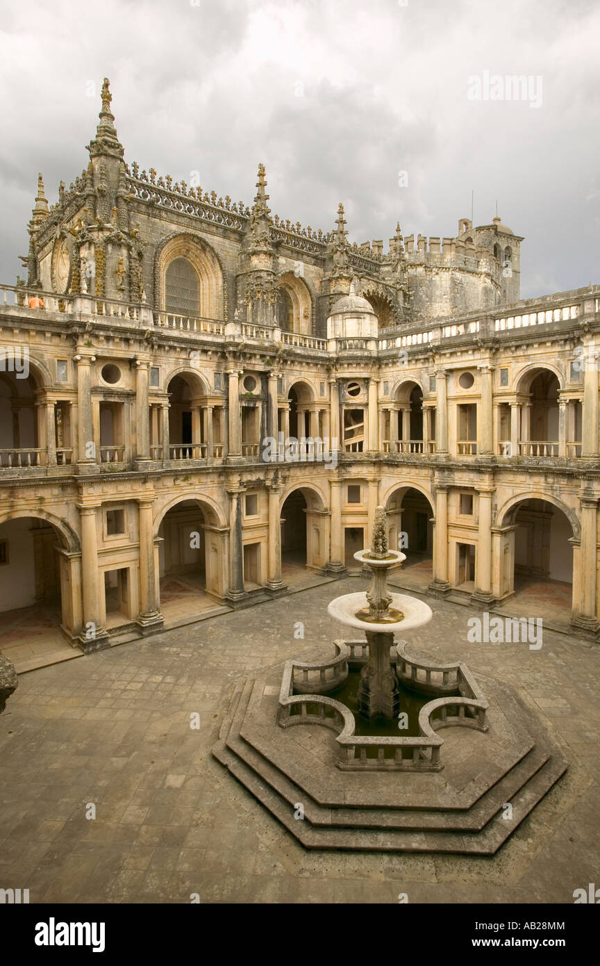 Convent of the Knights of Christ and the Templar Castle is a Unesco World Heritage Site founded by Gualdim Pais - Stock Image