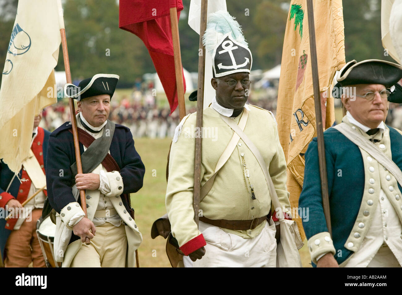 African American from the 1st Rhode Island Regiment at the 225th Anniversary of the Victory at Yorktown a reenactment - Stock Image