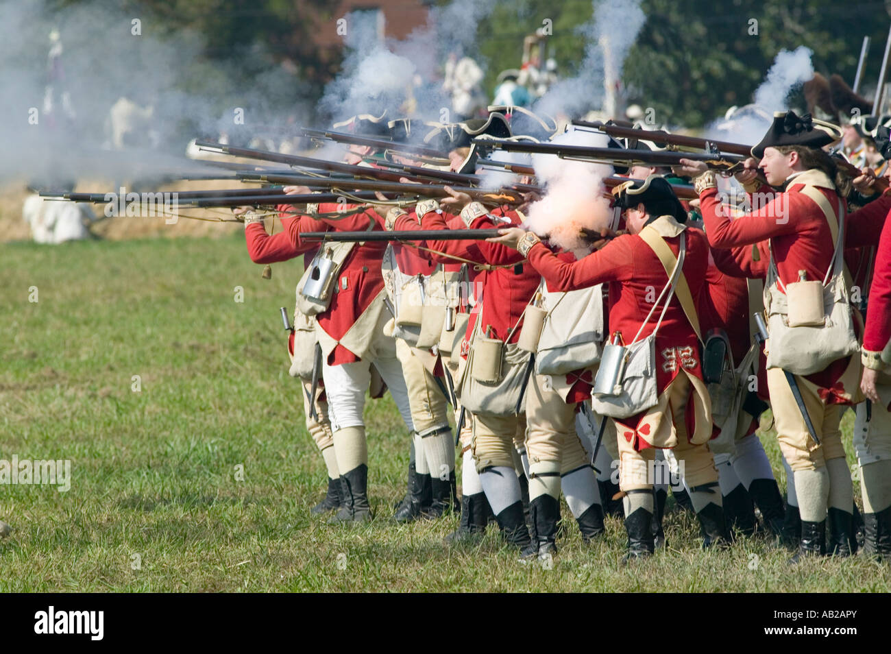 Re enactment of Attack on Redoubts 9 10 where the major infantry action of the siege of Yorktown took place General - Stock Image