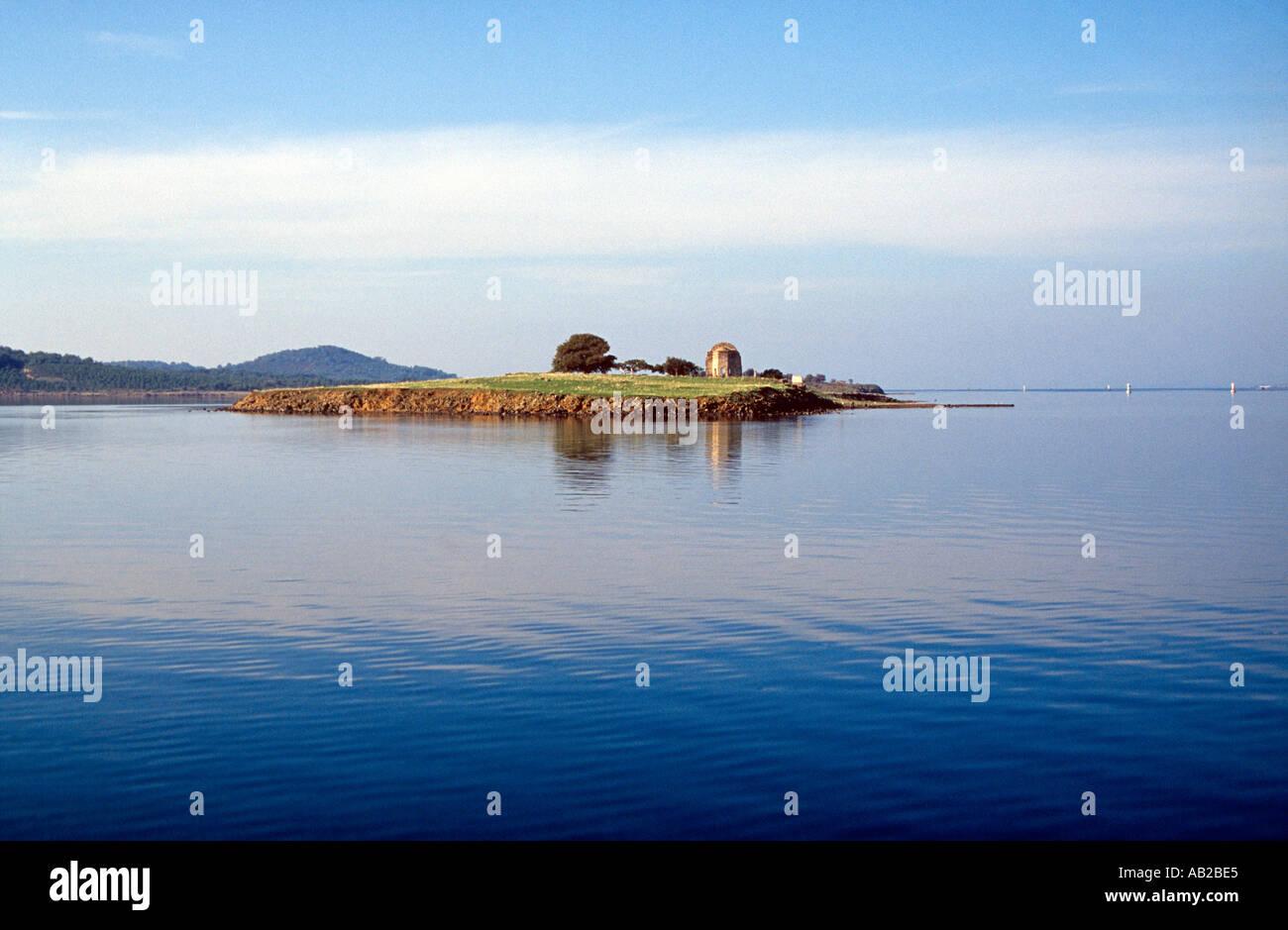 Island with old structure Ayvalik Turkey - Stock Image