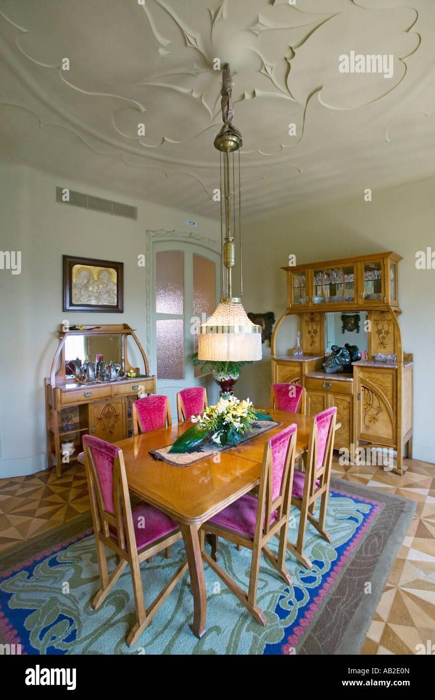 Interior view of vintage dining room table of Casa Mila or La