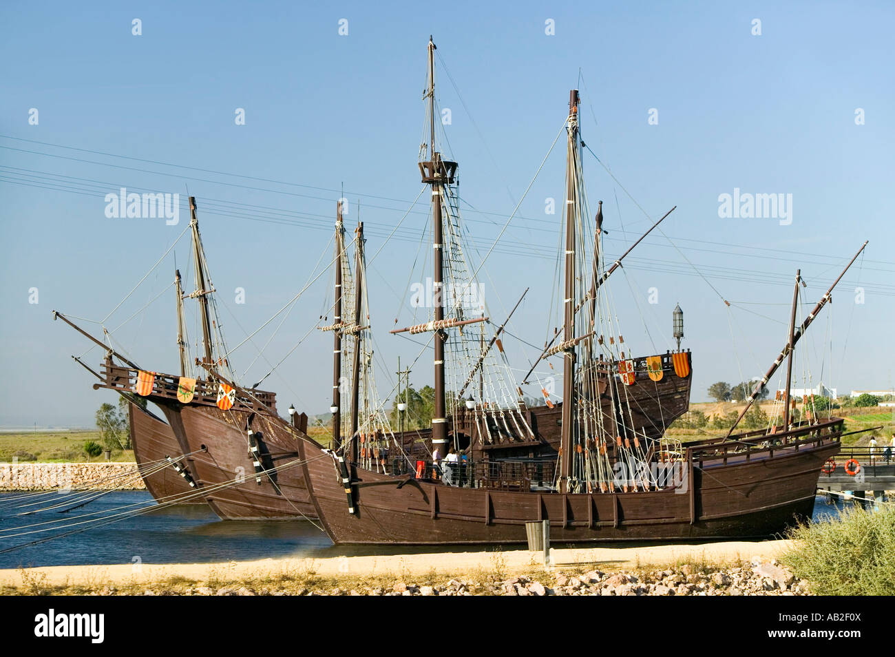 Full size replicas of Christopher Columbus ships the Santa Maria the Pinta or the Niña at Muelle de las Carabelas Stock Photo