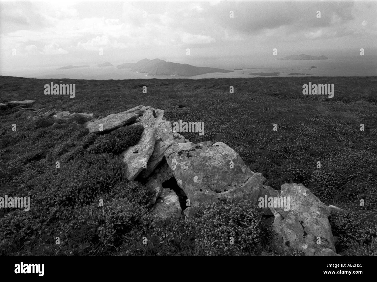 The Blasket Island viewed in Black White from the top of Mount Eagle Dingle Peninsula West coast of Ireland - Stock Image
