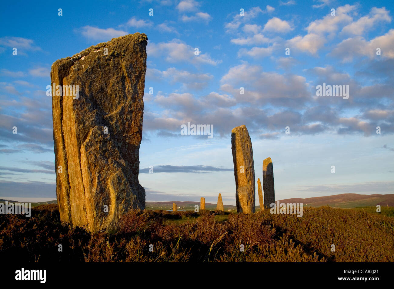 dh  RING OF BRODGAR ORKNEY Neolithic standing stones henge circle Stock Photo