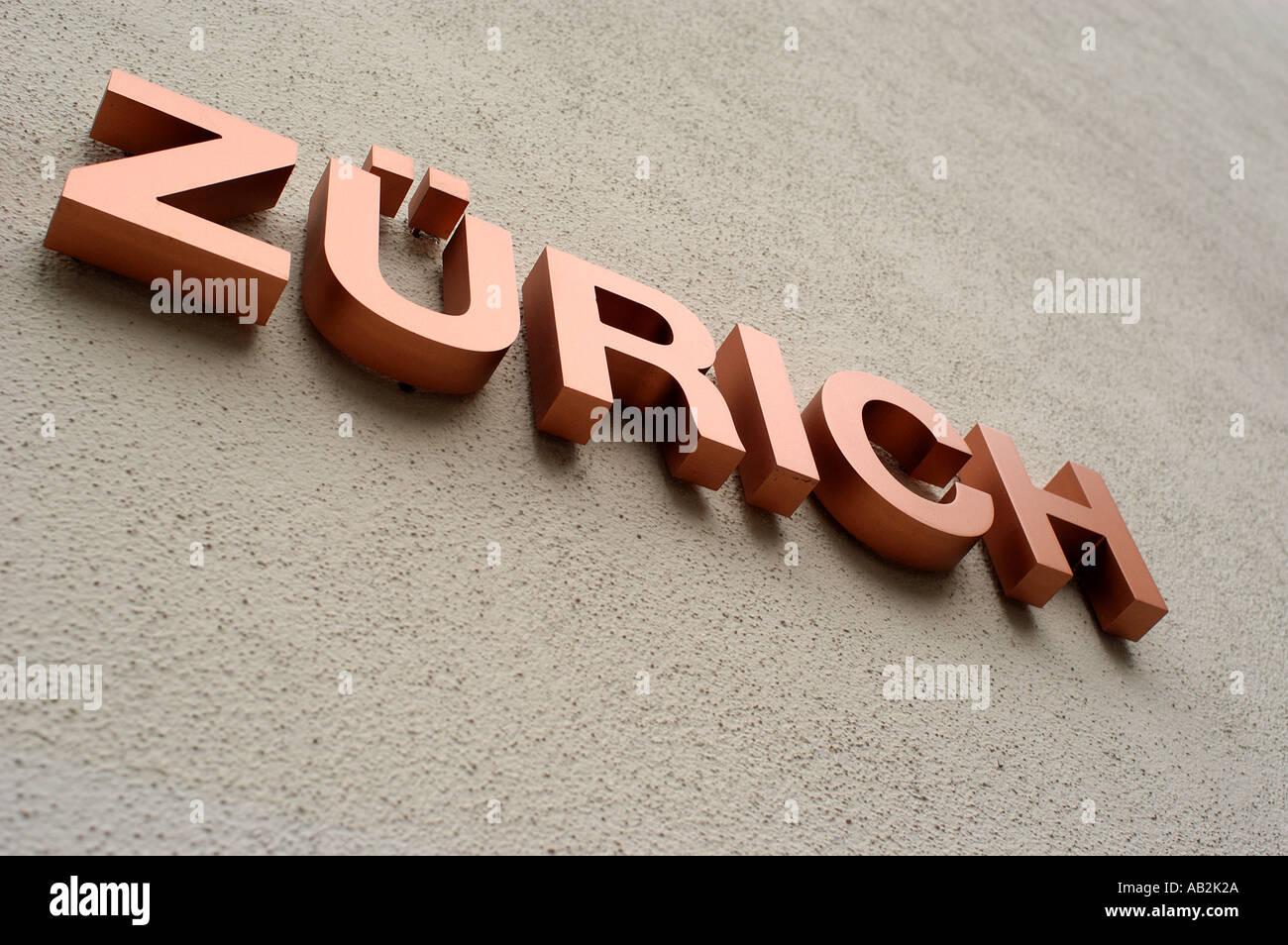 Sign Zurich Switzerland Stock Photo