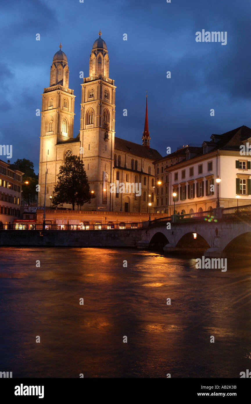Grossmunster Cathedral and Limmat river Zurich Switzerland Stock Photo