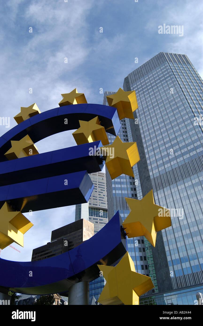Euro sign and skyscraper Frankfurt Germany - Stock Image