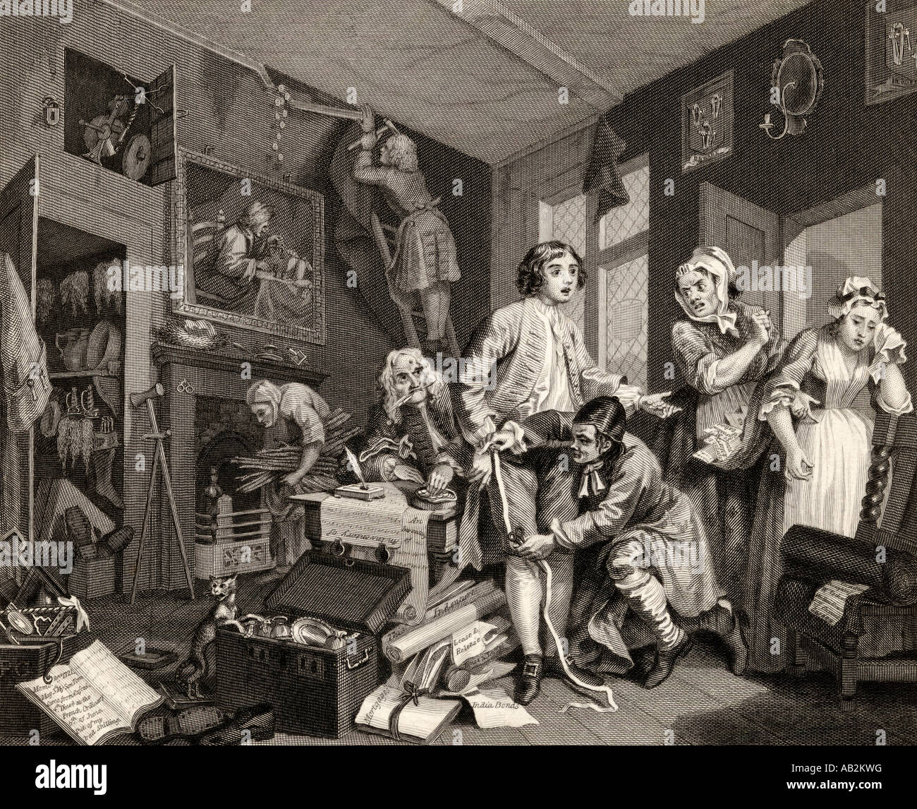 The Rakes Progress The young heir takes possession of the miser's effects From the original picture by Hogarth - Stock Image