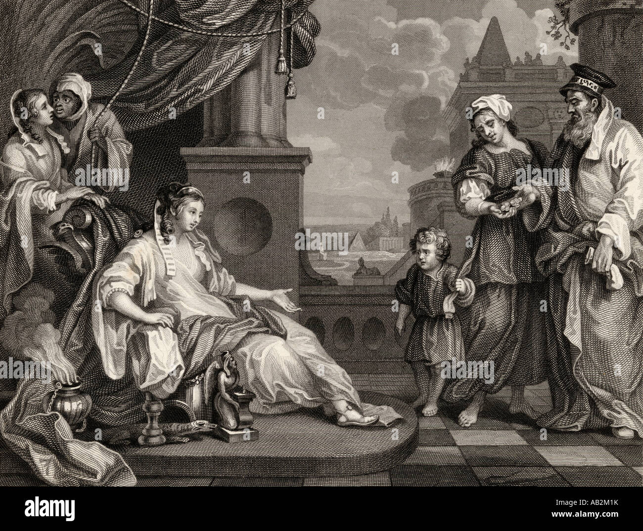 Moses before Pharaoh s Daughter From the original by Hogarth - Stock Image