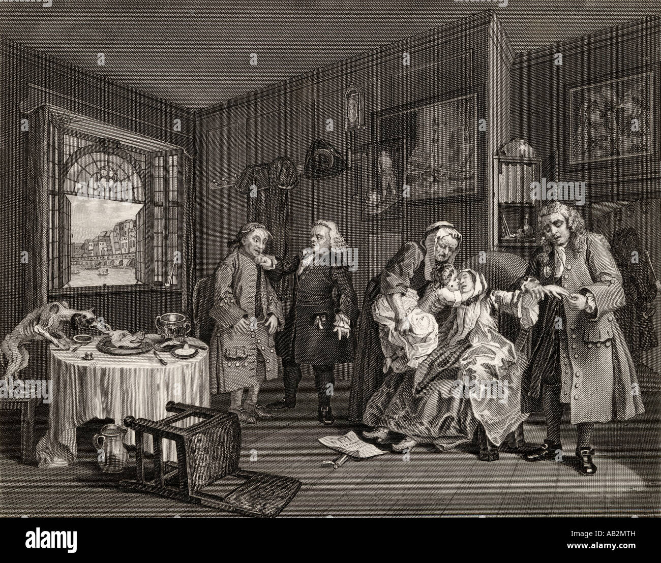 Marriage a la Mode. Death of the Countess. From the original by Hogarth Stock Photo