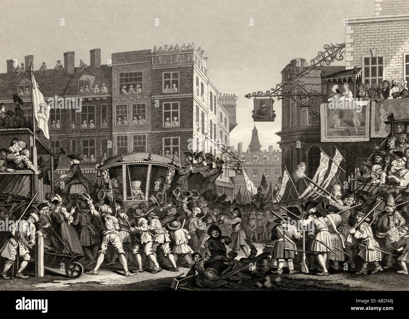 Industry and Idleness. The industrious prentice, Lord Mayor of London.  From the original design by Hogarth - Stock Image