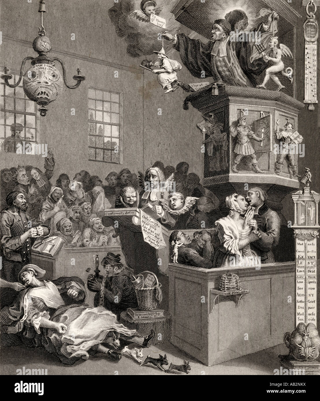 Credulity Superstition and Fanaticism Engraved by C Mottram after Hogarth - Stock Image
