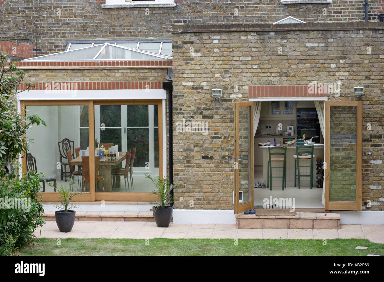 House extension with glass roof lantern - Stock Image