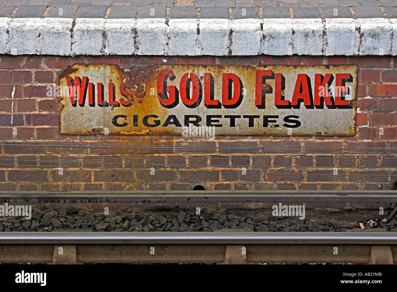 Ancient advertisement , beneath the platform at Bewdley Station, - Stock Image