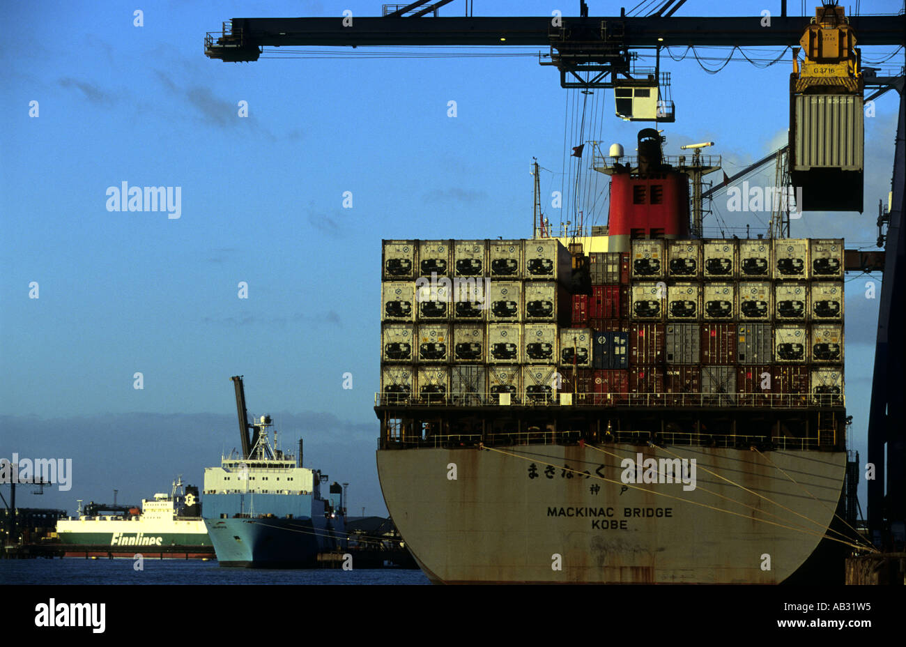 K-Line container ship Mackinac Bridge unloading at Landguard terminal at the Port of Felixstowe in Suffolk,  UK. - Stock Image