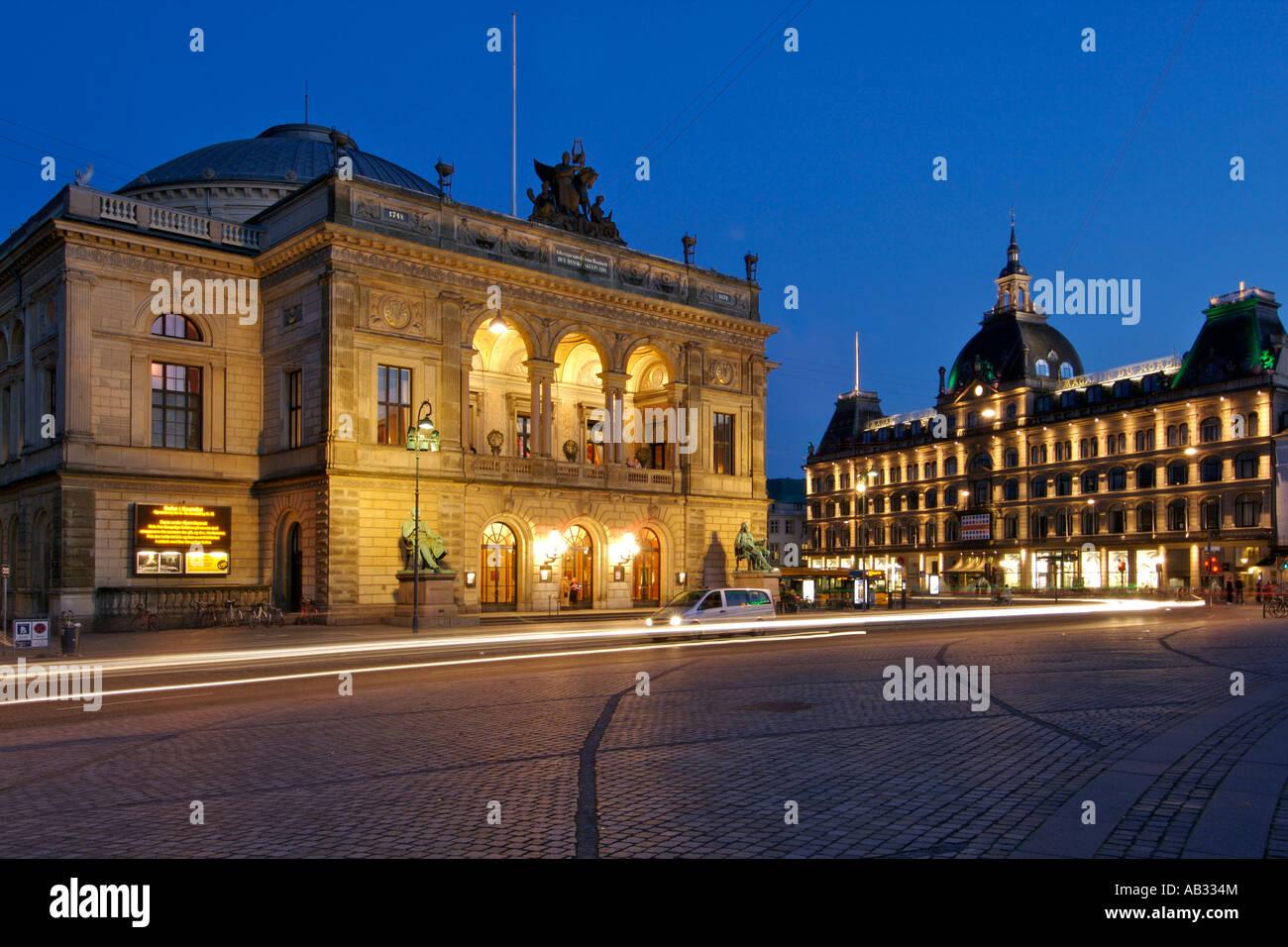 The Royal Theatre (Kongelige Teater) and the Magasin du Nord seen from Kongens Nytorv in Copenhagen Denmark. - Stock Image