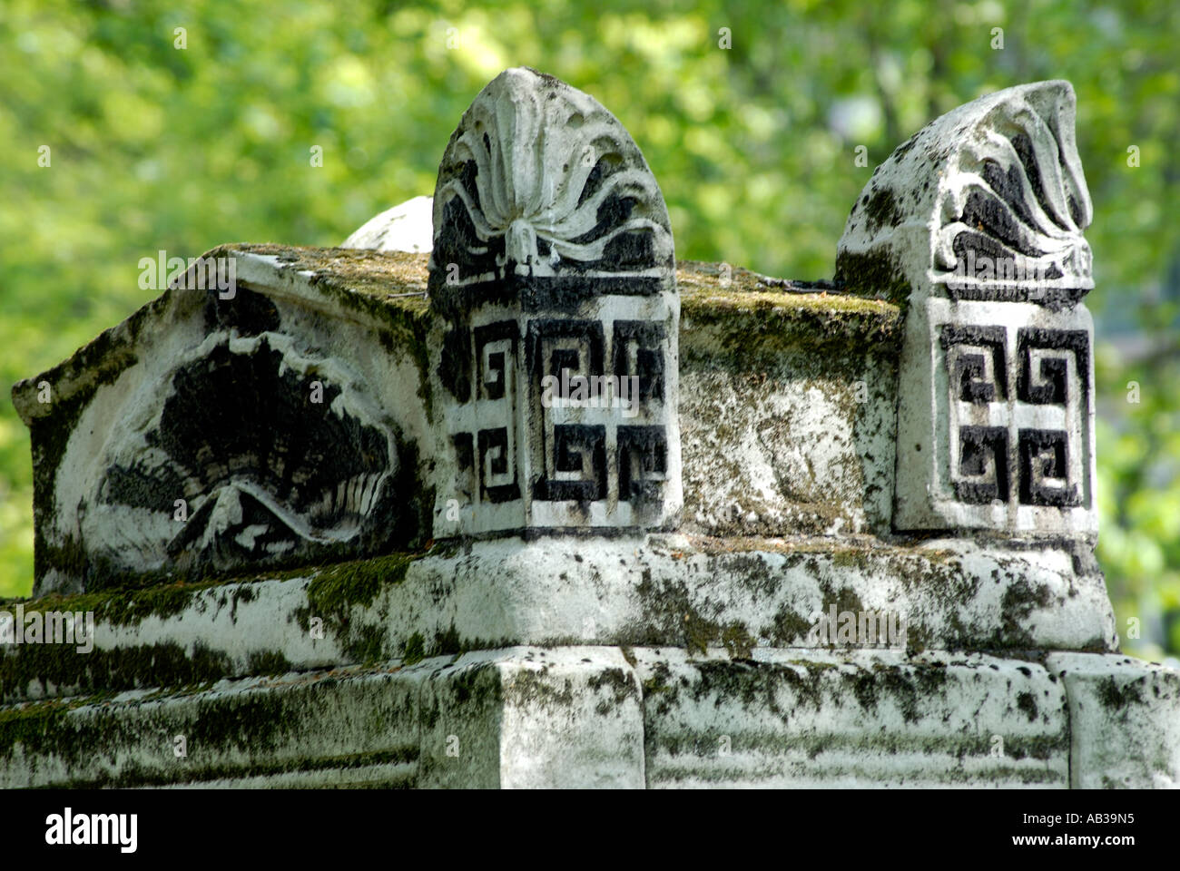 Gravestone detail in Bunhill Fields Cemetery London Borough of Islington - Stock Image