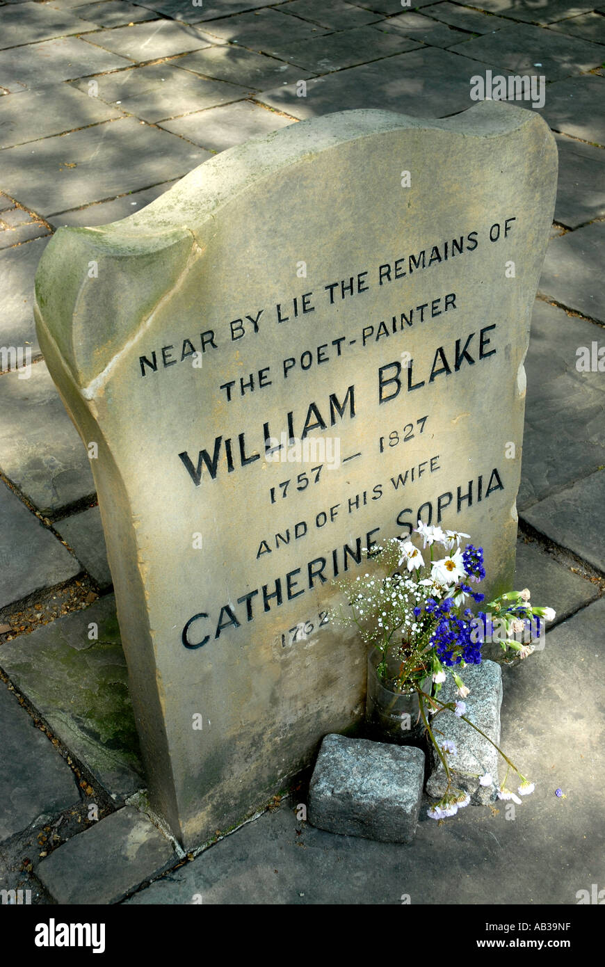 William Blake gravestone in Bunhill Fields Cemetery London Borough of Islington - Stock Image