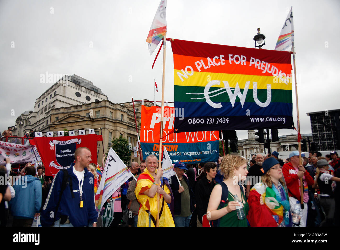 CWU marchers at the 2007 London Gay Pride March - Stock Image