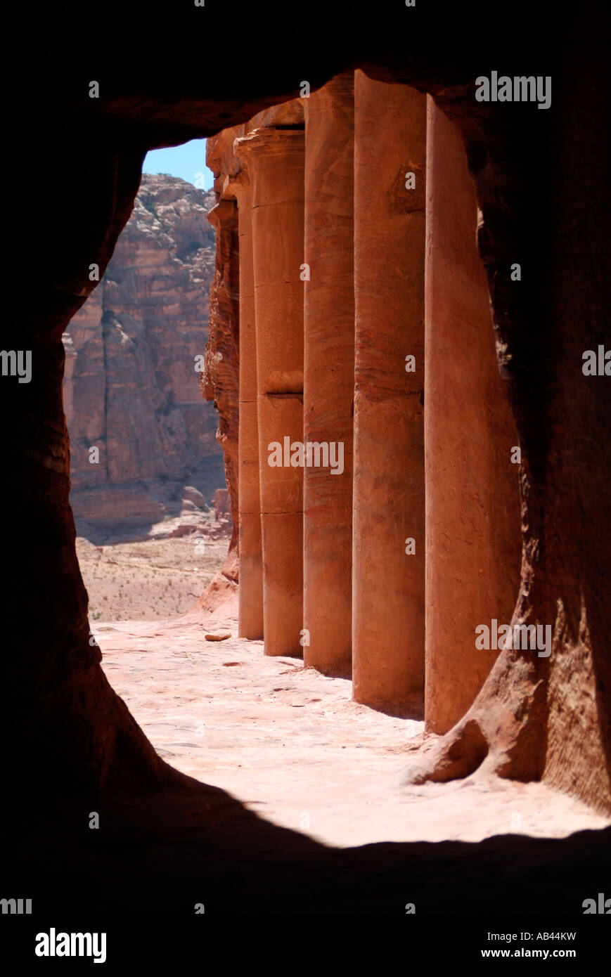 View looking out from the Urn Tomb at Petra in Jordan Stock Photo