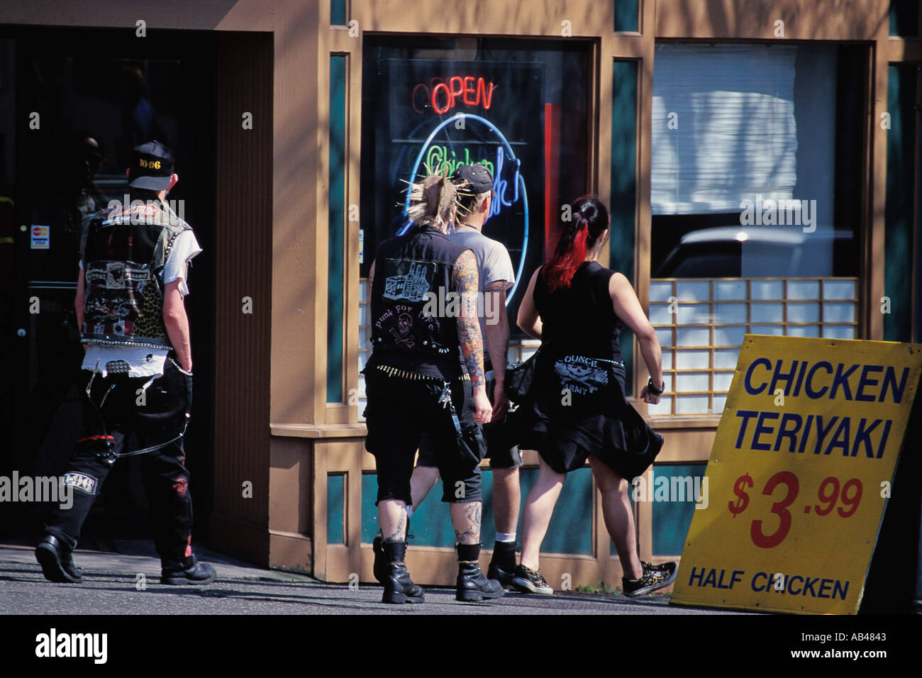 Teens dressed in punk style in Fremont district Seattle WA - Stock Image