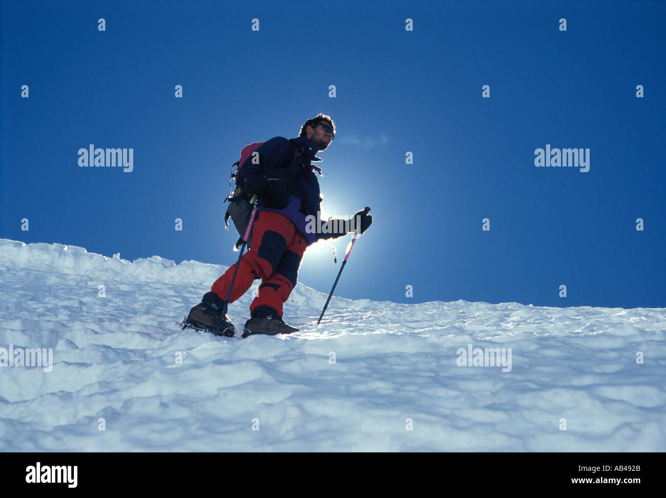 Mountain climbing in Bolivia Andes Huayna Potosi 6094 m - Stock Image