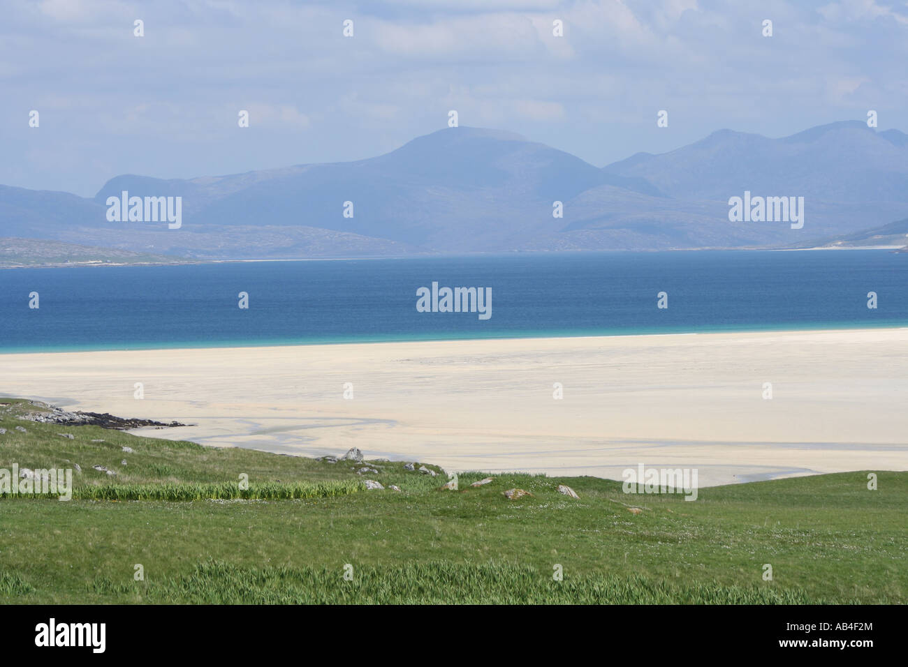 aerial view of Scarasta beach and hills of Isle of Harris Outer Hebrides Scotland  June 2007 - Stock Image