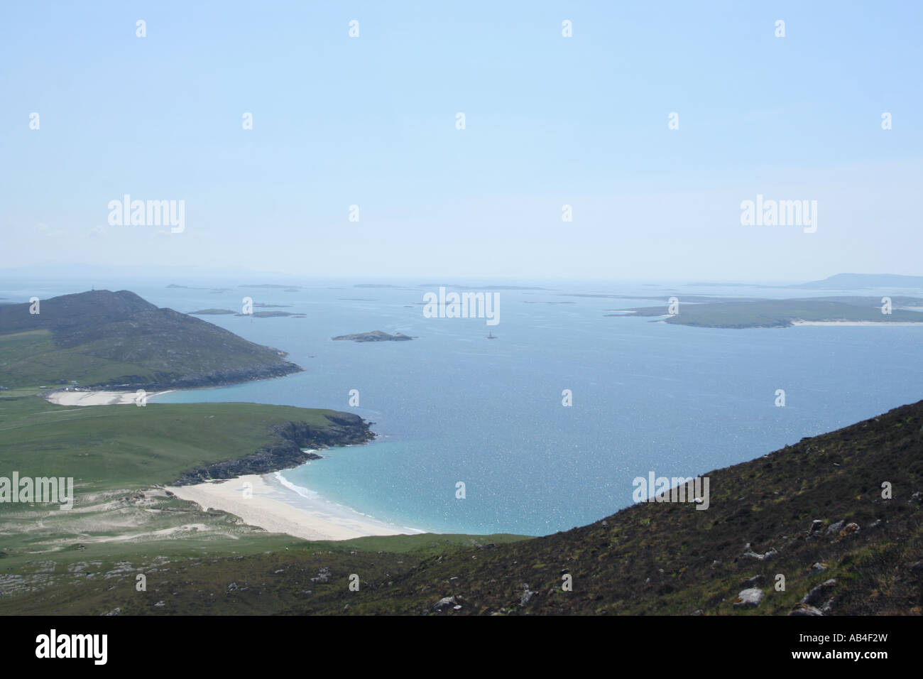 aerial view of Traigh na cleabhaig beach and Sound of Harris from Ceapabhal Isle of Harris Scotland  June 2007 - Stock Image