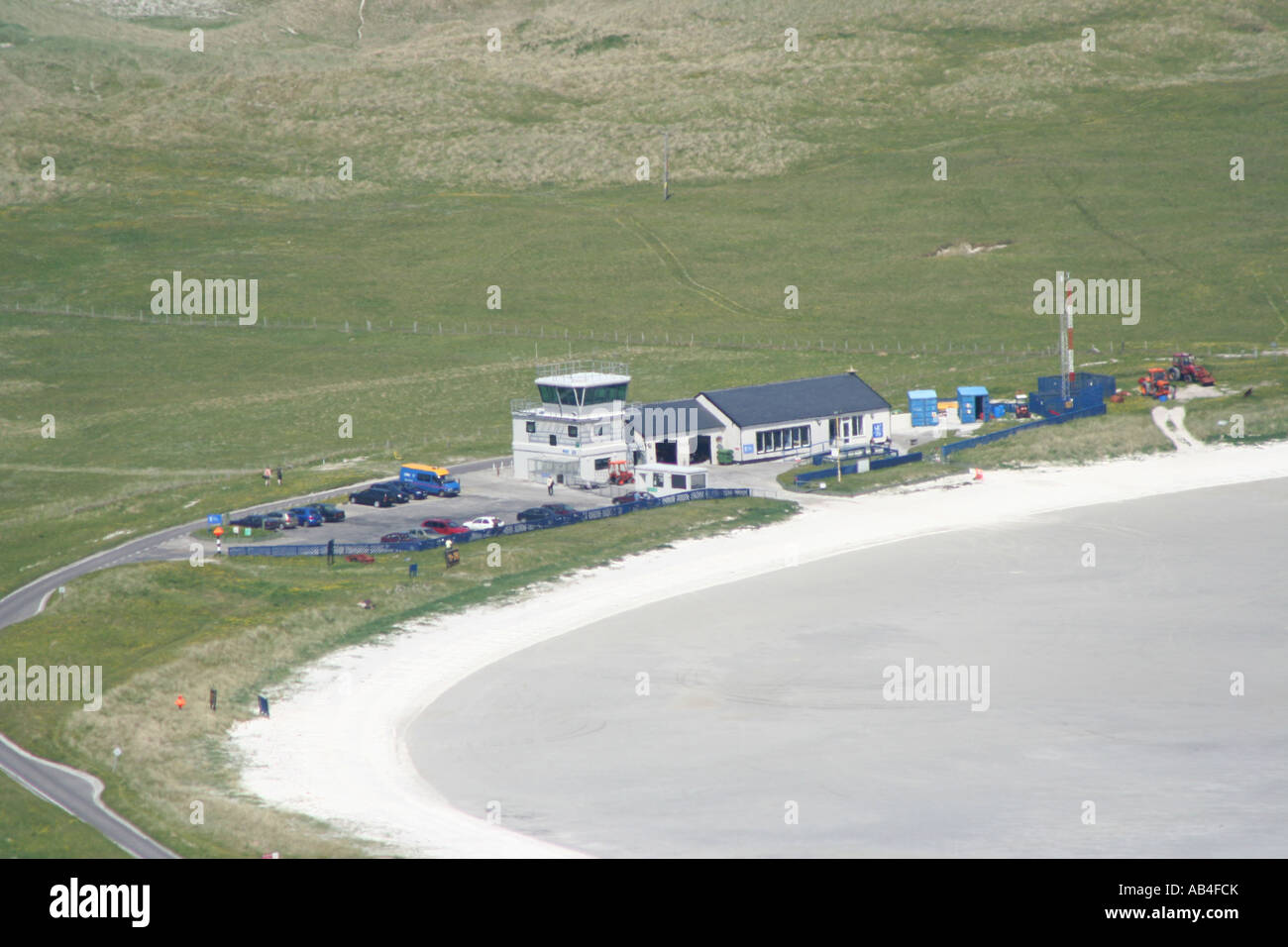 aerial view of Barra airport Isle of Barra Outer Hebrides Scotland  June 2007 - Stock Image