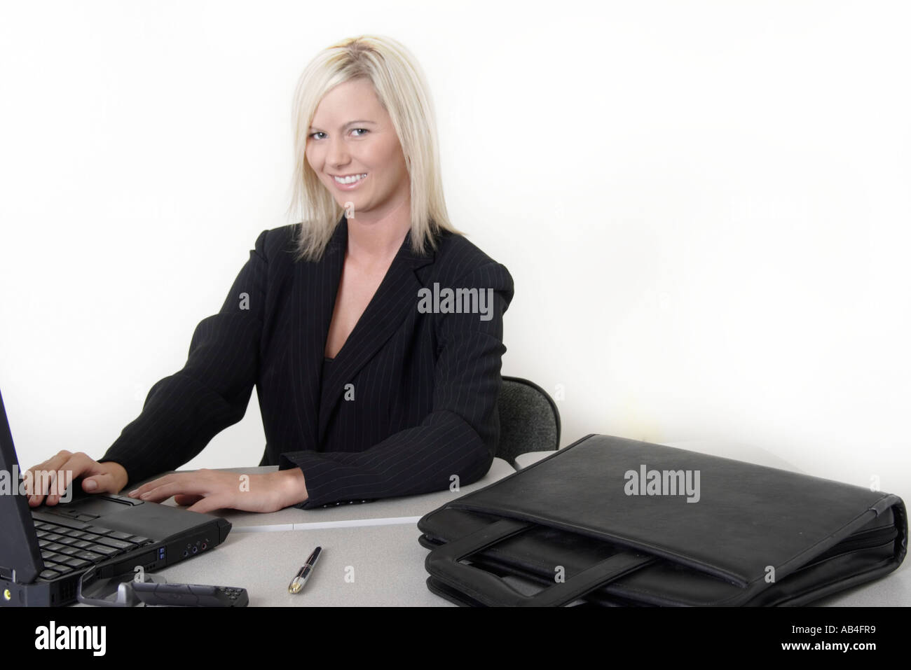 Mature blonde secretary speaking