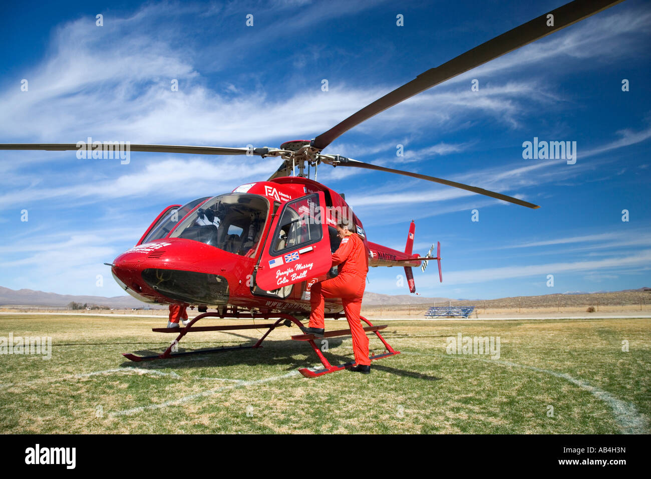Bell 407 Helicopter, Pole to Pole, Polar First flight, Nevada - Stock Image