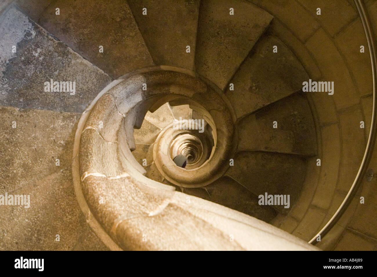 Spiral staircase in the Temple de La Sagrada Familia, Barcelona, Spain Stock Photo