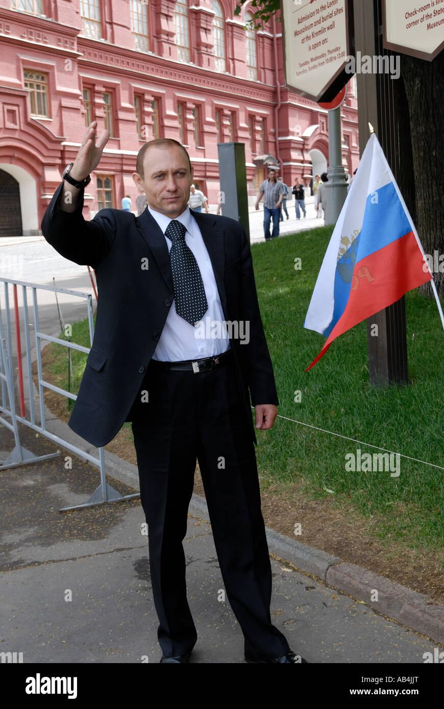 Vladimir Putin lookalike in Moscow - Stock Image