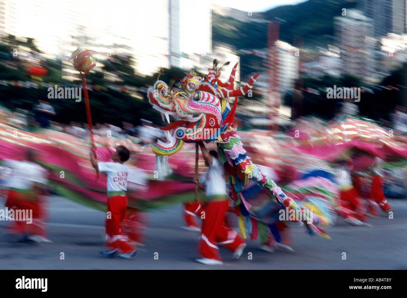 Hong Kong, Danza Del Dragon - Stock Image