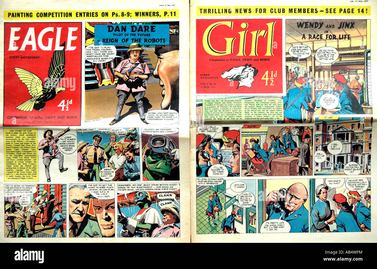 Eagle and Girl Comics 1957  FOR EDITORIAL USE ONLY - Stock Image