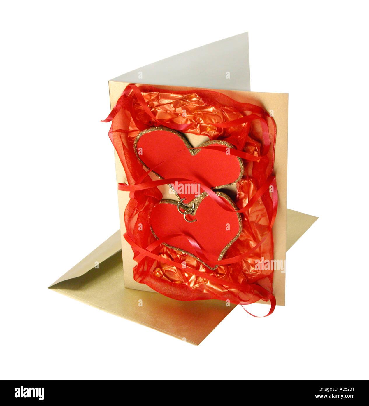Happy Wedding Card Love Card Letter Loveletter Red Heart Gold Ring