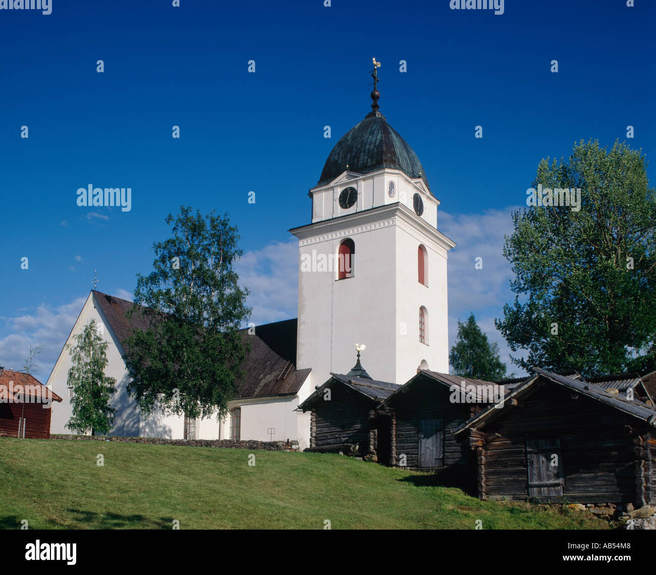 Rattvik Church and Horse Stables Rattvik Sweden - Stock Image