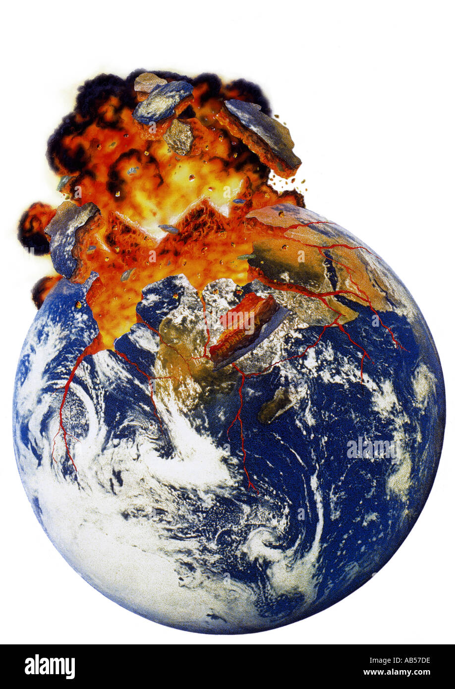 art work blasting earth - Stock Image