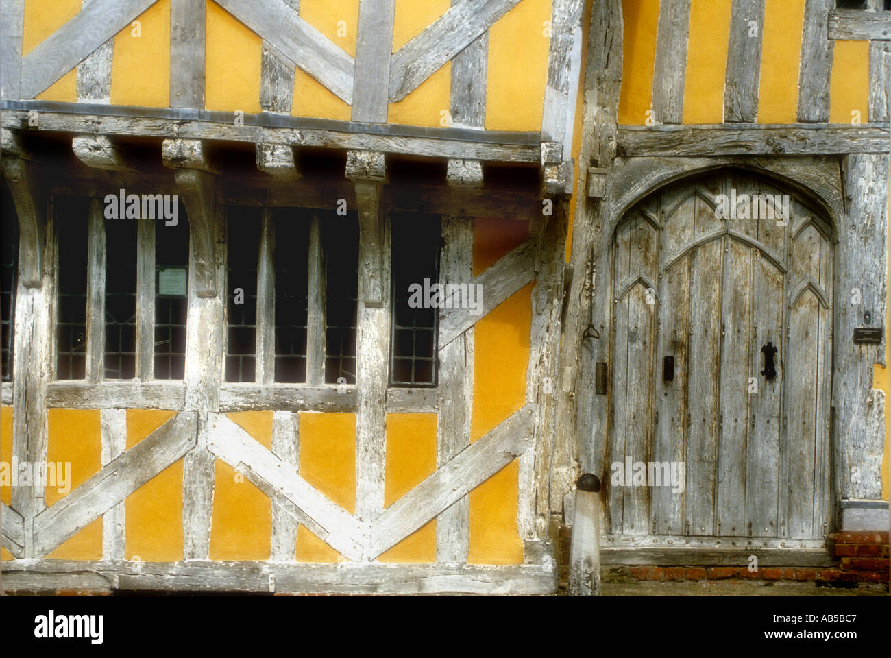 Detail of Little Hall a 14th century Wool Merchants Half Timbered Building in Lavenham Suffolk UK - Stock Image