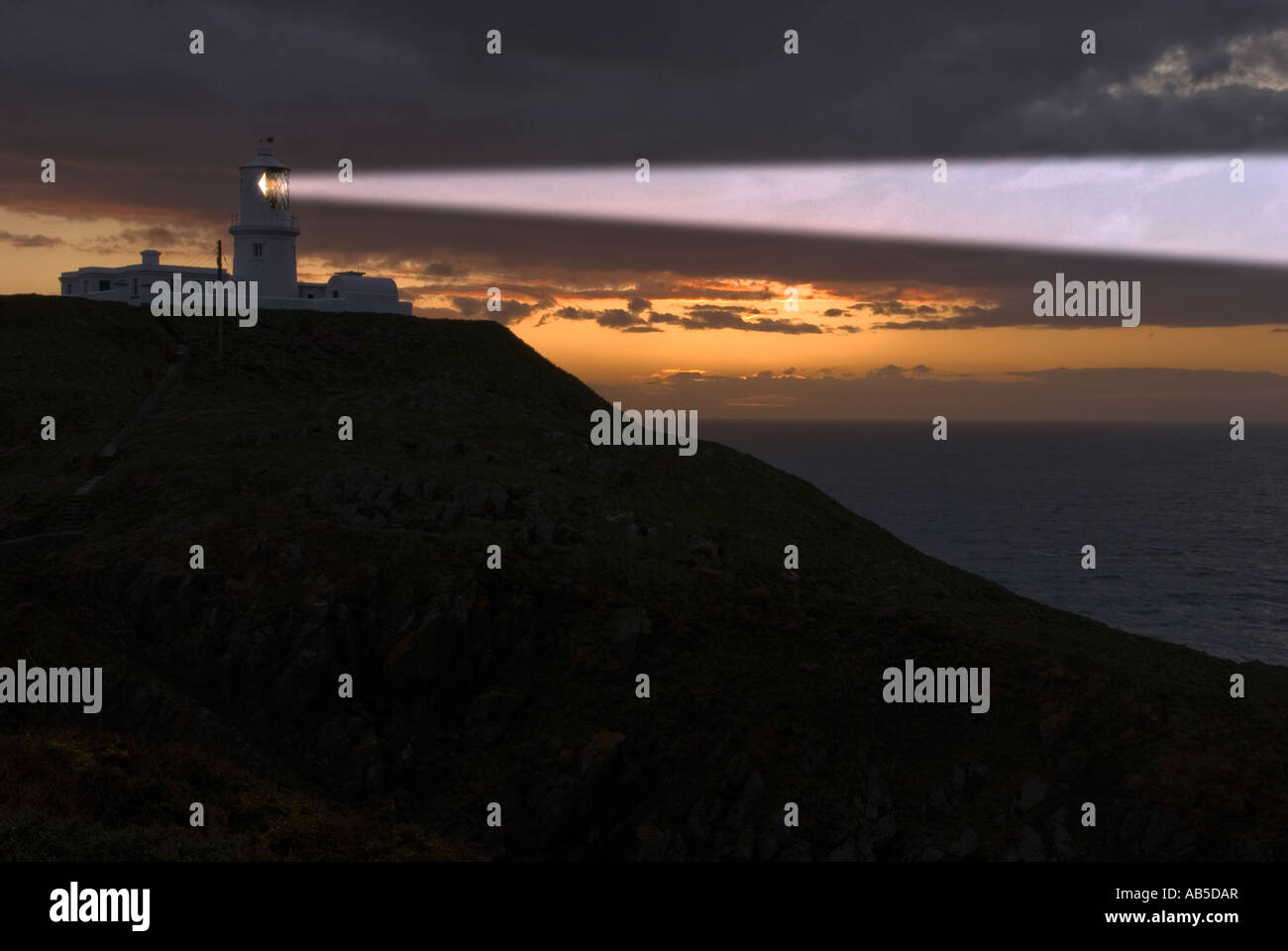 Strumble Head Lighthouse in Pembrokeshire - Stock Image
