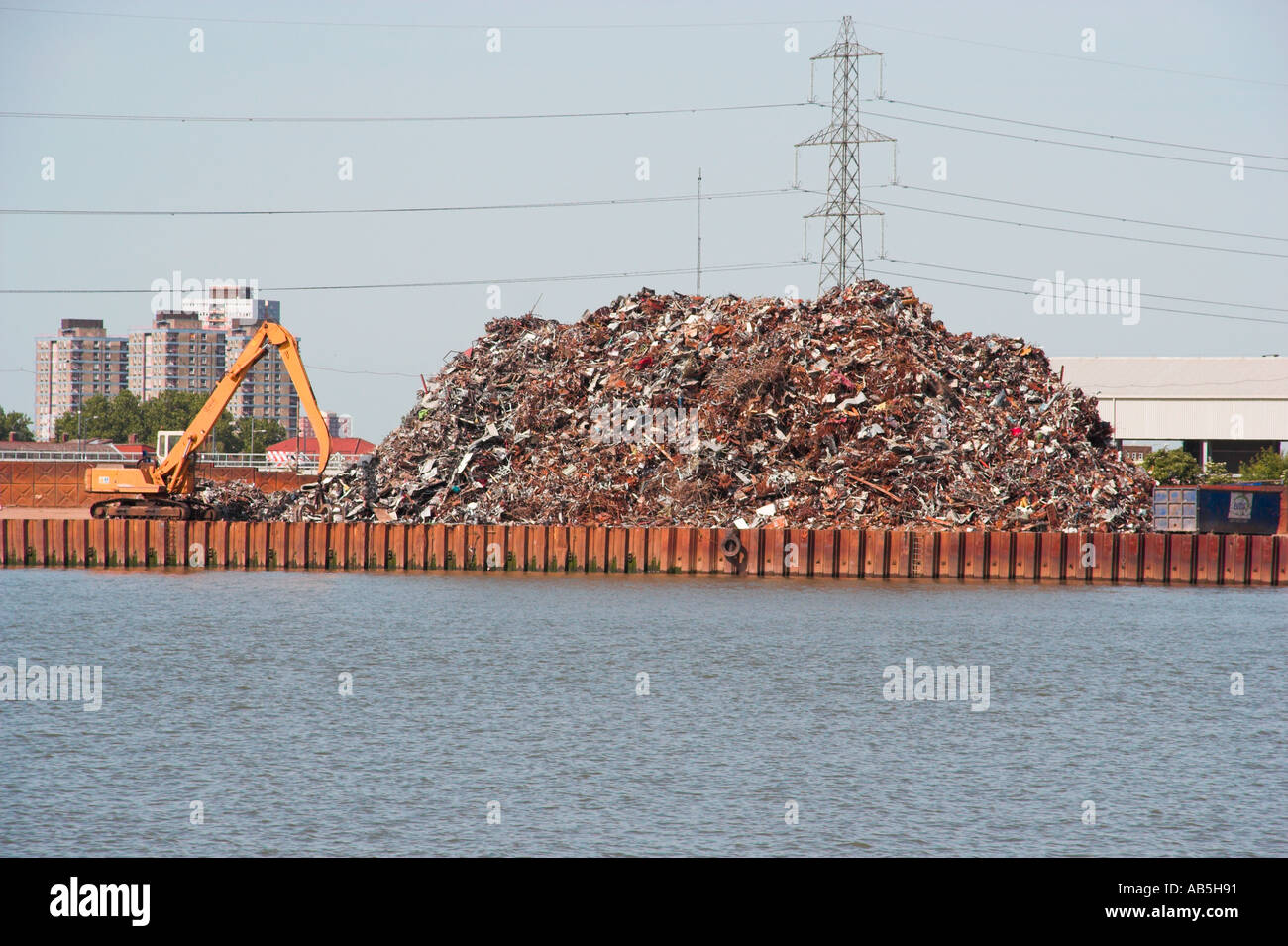 Rubbish dump pile landfill waste produce products man made - Stock Image