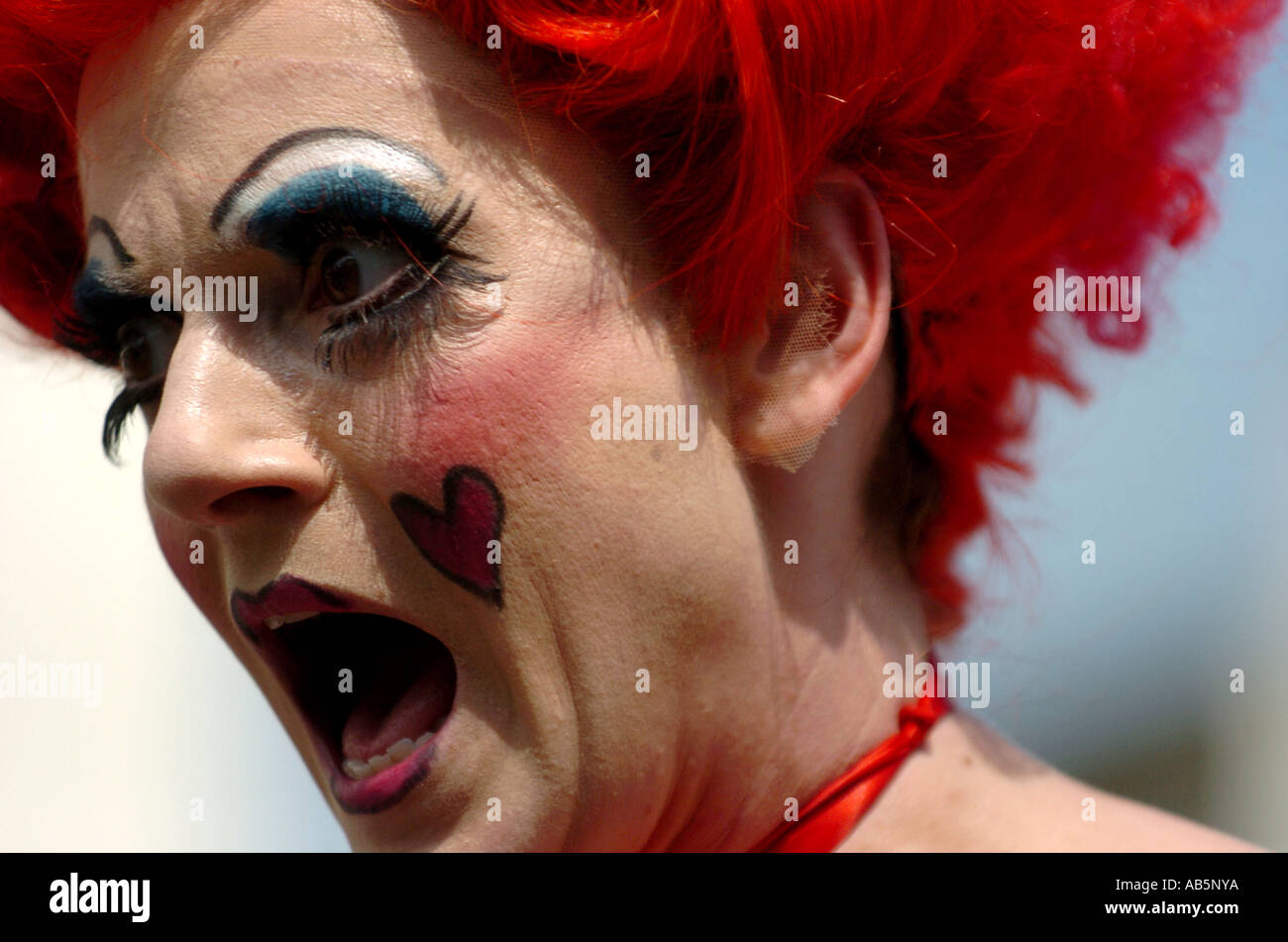 BHZ bhz A performer makes a face during the Streets of Brighton which is part of Brighton Festival UK - Stock Image