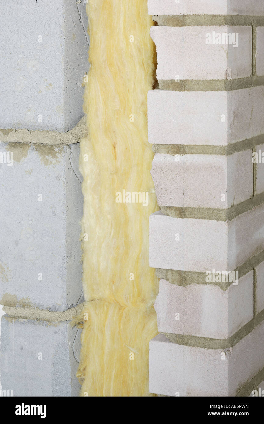 Cavity wall and insulation fibreglass in between Stock Photo ...