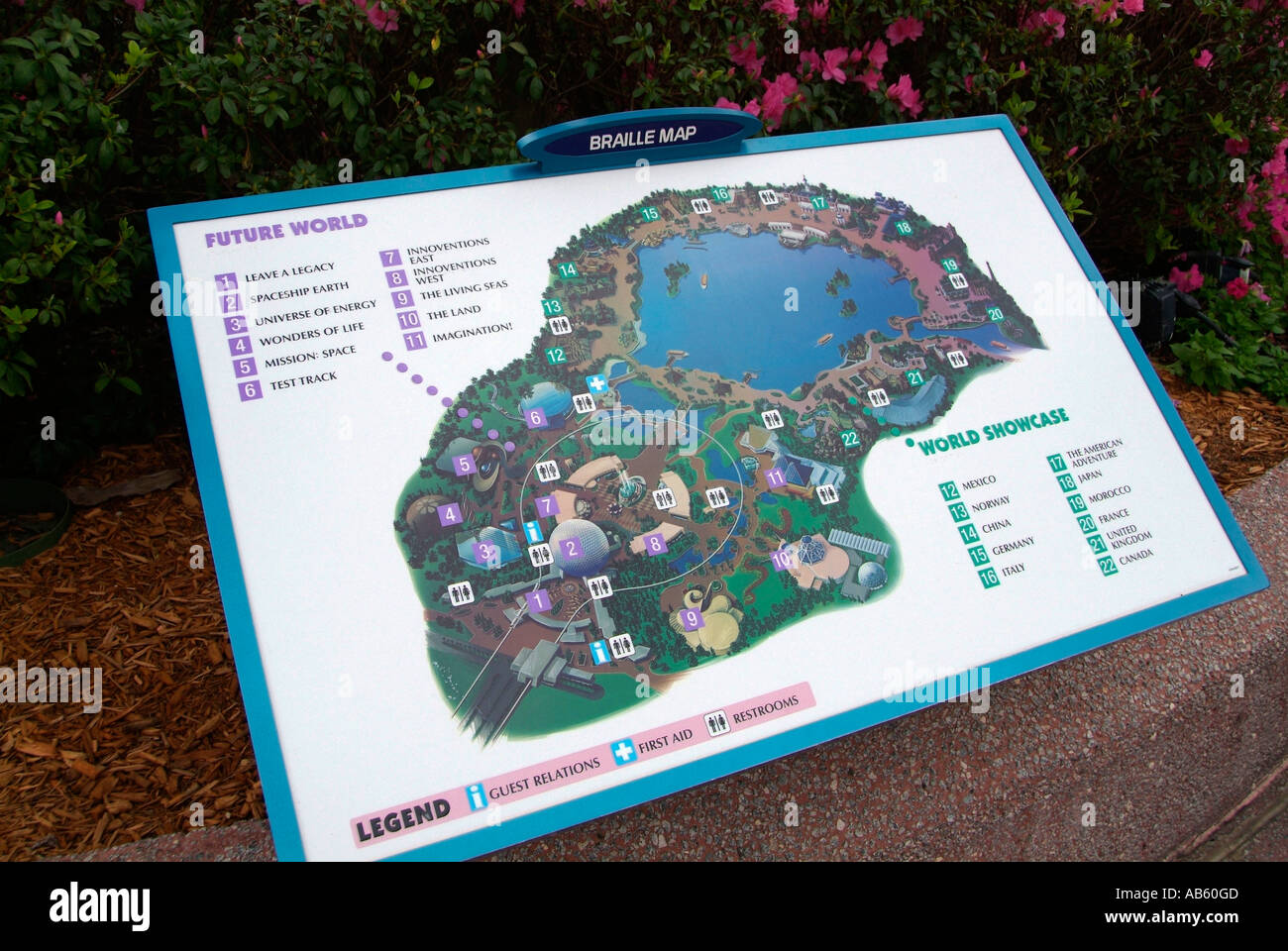 Disney park map stock photos disney park map stock images alamy map directions in braille at the epcot center at walt disney world theme park orlando florida gumiabroncs Image collections