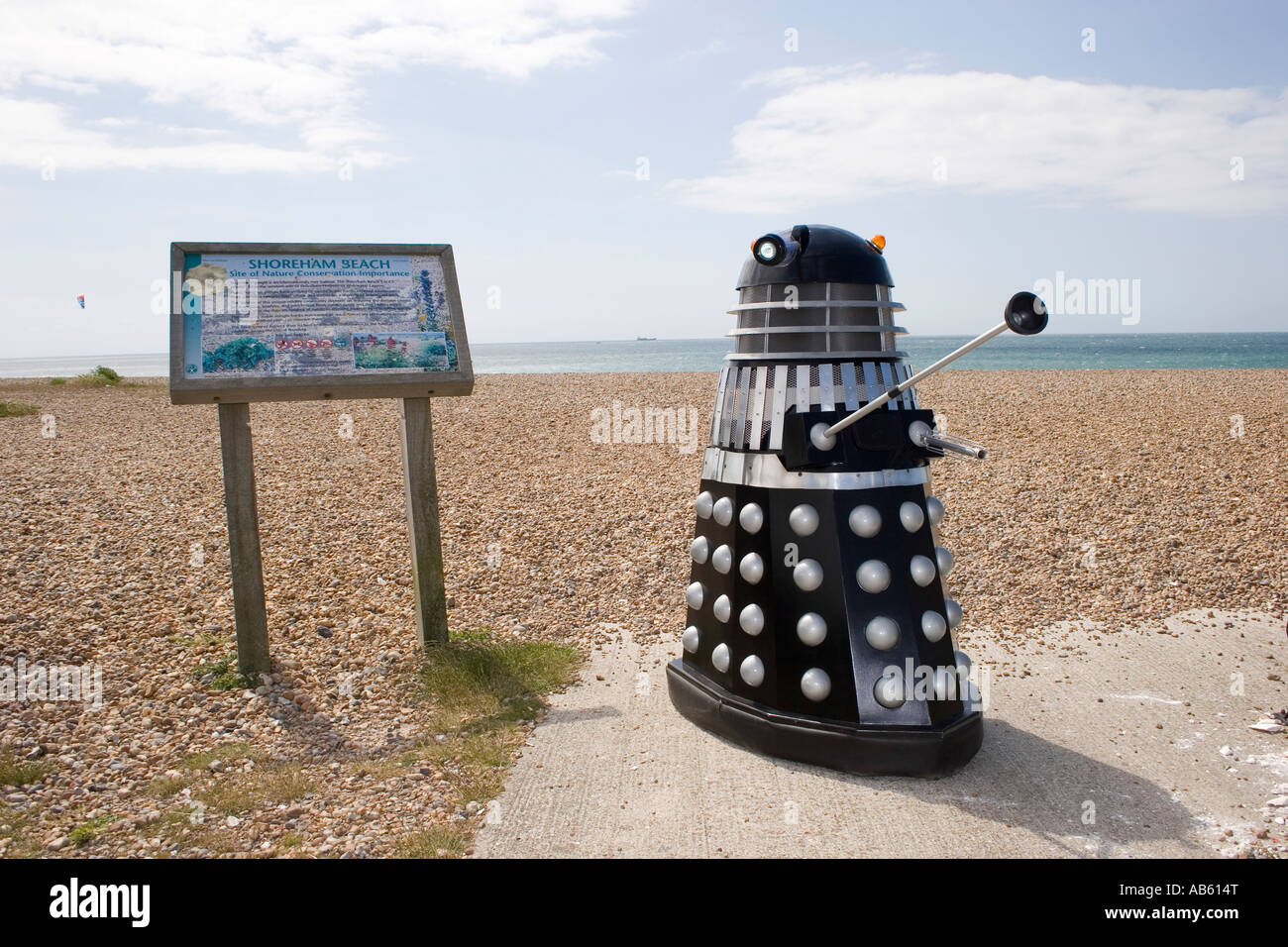 Dalek from Dr Who series on shoreham beach west sussex uk - Stock Image