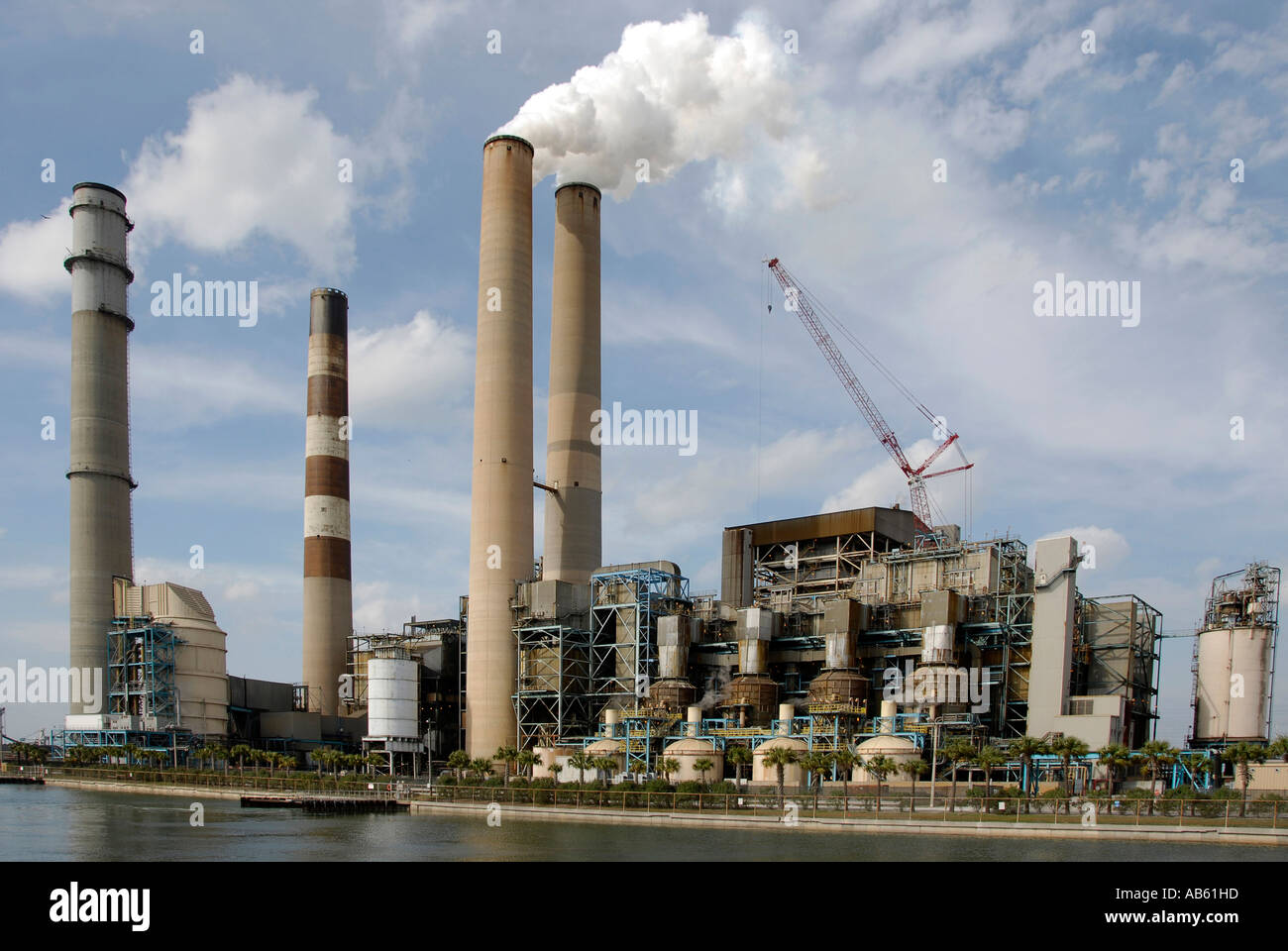 TECO Electrical power plant in Tampa Florida showing scrubbers used to remove sulfur from the smoke in a coal burning facility - Stock Image