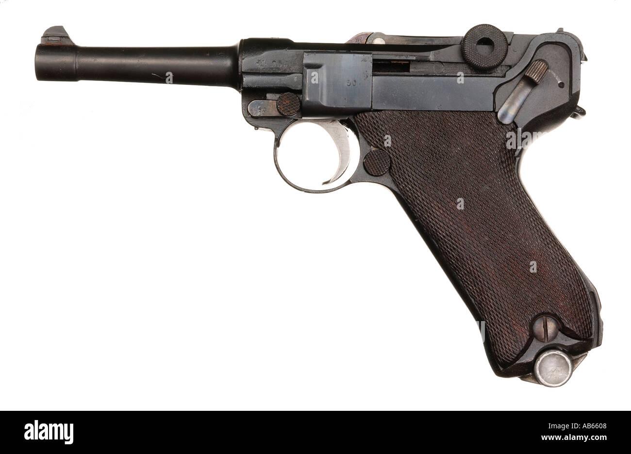 Luger pistol German gun Second World War - Stock Image
