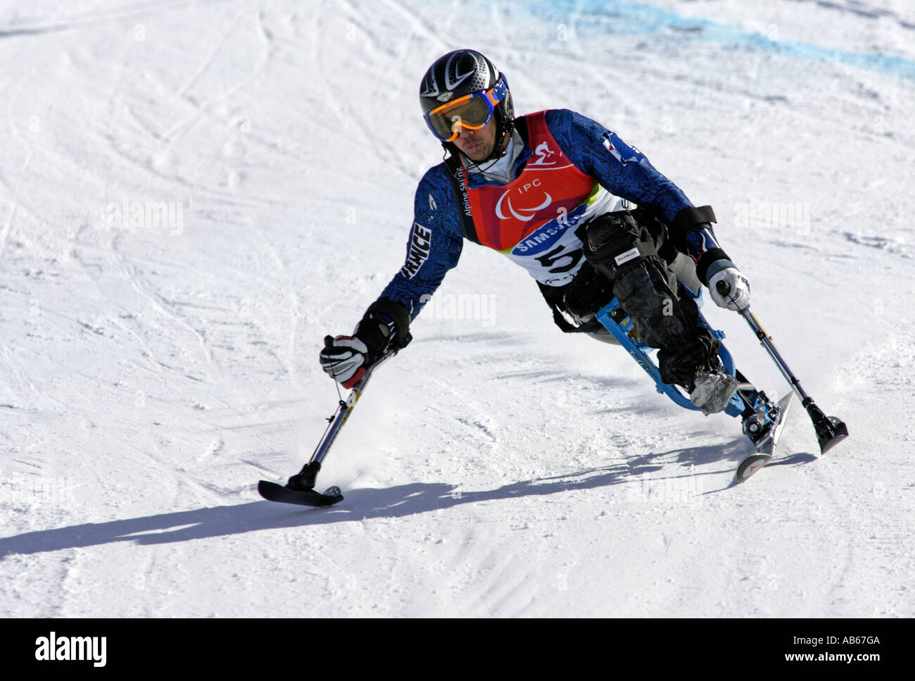 Jean Yves Le Meur of France in the Mens Alpine Skiing Giant Slalom Sitting competition Stock Photo
